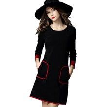 Европейский Бренд платья 2016 Осень зима С Длинным рукавом платья женщин женский черный старинные элегантные случайные халат elbise офисное платье(China (Mainland))
