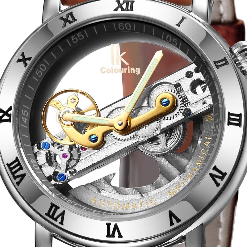 IK Vista del Design Hollow Incisione Cassa In Oro In Pelle di Scheletro Meccanico Automatico Orologi Degli Uomini di Lusso di Marca Heren Horloge-in Orologi meccanici da Orologi da polso su  Gruppo 1