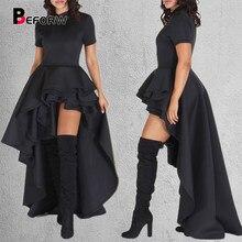 Beforw vestido curto de cintura alta, vestido feminino para festa, gola redonda, moda irregular
