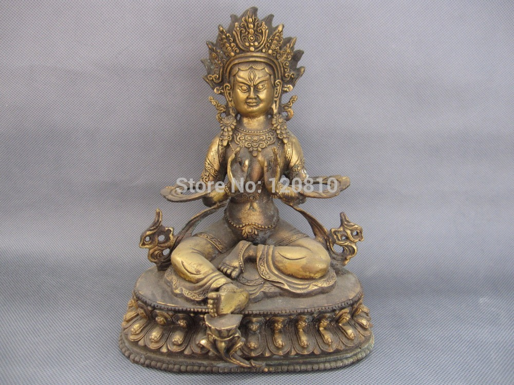9 Old Tibet Tibetan Bronze Wrathful Green Tara Buddha Statue