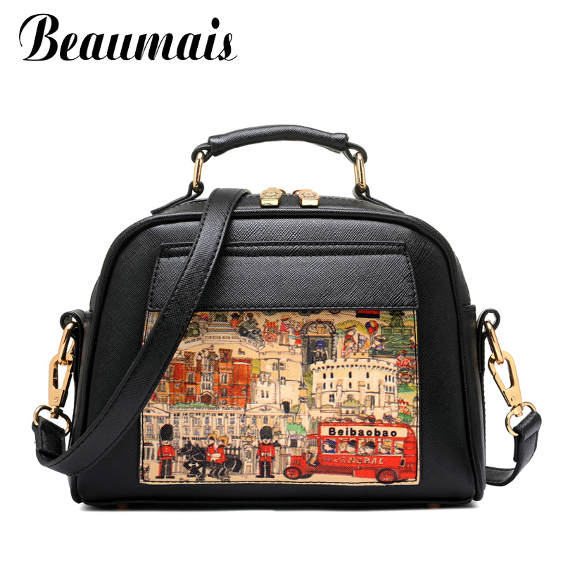 Beaumais Pu Leather Women Handbag Famous Brand Messenger Bags Shoulder Bag Pouch Printing Female Db5794