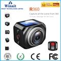 360 Câmera Wi-fi Mini Câmera Panorâmica Ultra HD Camera 360 Graus VR de Condução À Prova D' Água Desporto Câmera 1440 p/30fps com Bateria