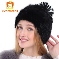 Cymenwangกระต่ายขนผู้หญิงฤดูใบไม้ร่วงฤดูหนาวหมวกสำหรับผู้หญิงลูกแมวbeaniesปอมปอมหมวกสาวs kullies gorrasแบรน...