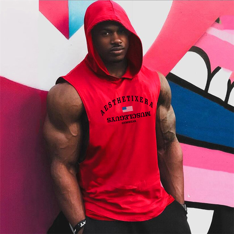 Muscleguys gyms vest Mens Cotton Hoodie Sweatshirts fitness clothes bodybuilding tank top men Sleeveless Tees Shirt tanktops