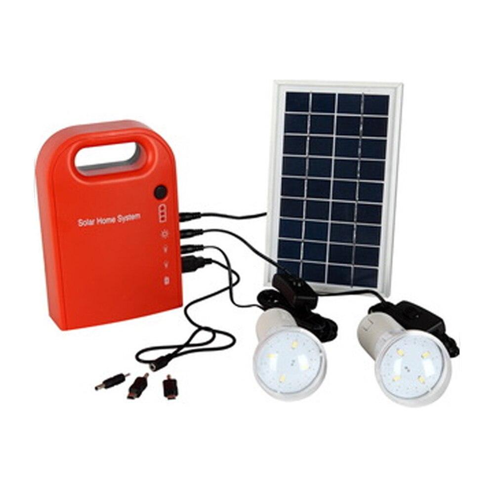 2 Lámpara LED Sistema de Iluminación de Emergencia Portátil Cargador de Batería