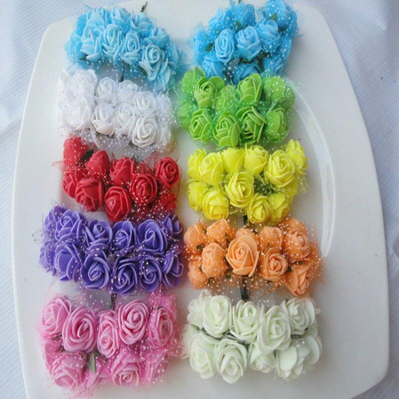 144 шт. диаметр 2 см головы Multi цвет PE пены розы Мини искусственные шелковые цветы букет сплошной Свадебные украшения венки
