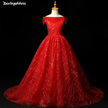 цена 2019 Red Flower Girl Dresses with Sequined A Line Boat Neck Pageant Dresses for Girls First Communion Dress Kids Evening Gown в интернет-магазинах