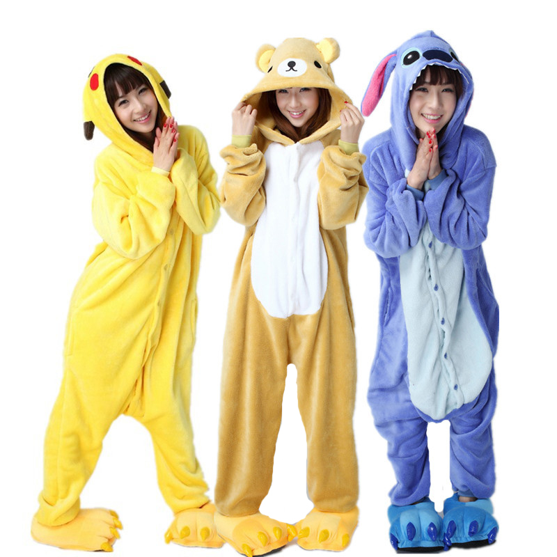 Large Size XXL Animal Kigurumi Warm Cartoon Pajamas Flannel Women Onesie Cosplay Clothing Halloween Party Jumpsuit Sleepwear