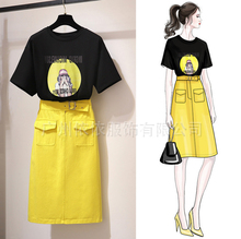 Spring and summer new style Summer two-piece dress Korean version of the slim T-shirt + skirt suit