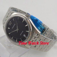Unisex Parnis 38mm Black Dial Silver Hands Sapphire Glass Stainless Steel Band Quartz Movement Mens Wristwatch