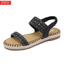 2019 Korean version new womens retro sandals bohemian sequins hemp rope comfortable thick bottom large size flat shoes natural