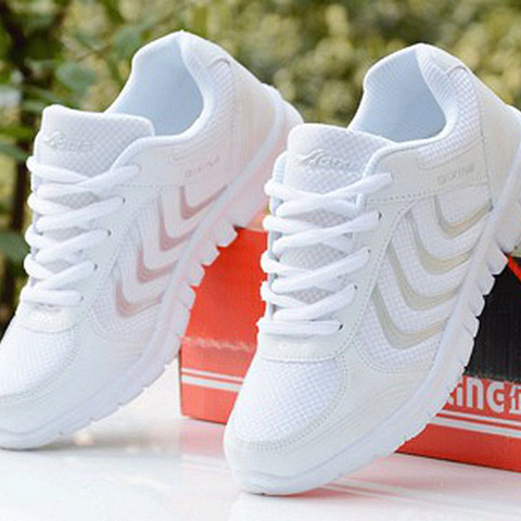 Men Sneakers 2019 New Men Sports Shoes Male Shoes White Running Shoes Men Plus Size Light Mesh Lace-up Sports Shoes for Male Lahore
