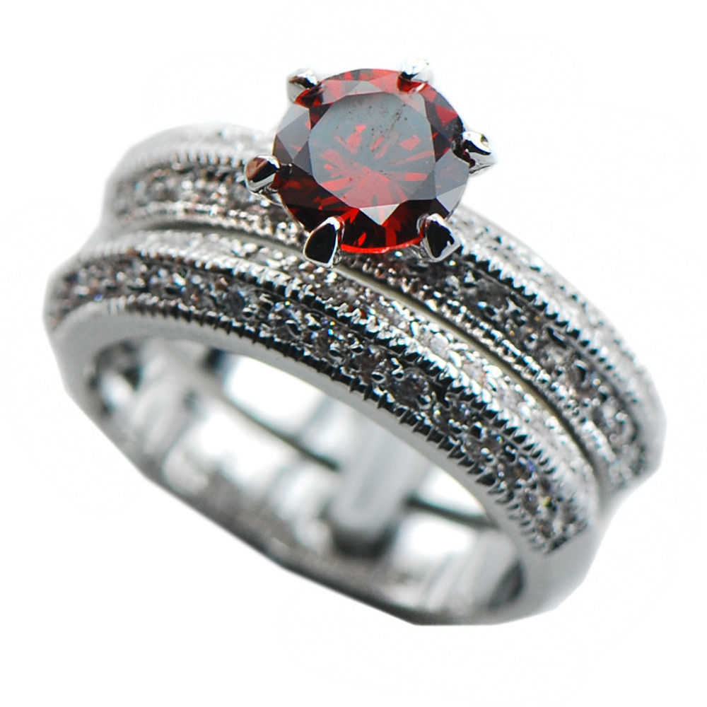 garnet wedding ring set Claddagh Ring Wedding Set White Gold and Diamond Blue Topaz or Red Garnet Engagement Ring and Wedding Band Rickson