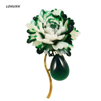 7 Styles High Quality Fashion Semi Precious Stone Green Chalcedony Peony Flowers Shape Brooch Pins Women