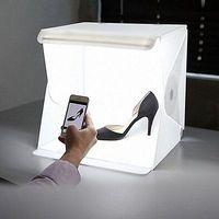 NEW TYPE Mini Folding Studio Diffuse Soft Box With LED Light Black White Background Photo Studio
