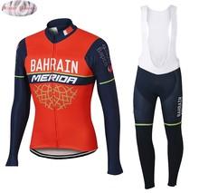 MDA 2019 New Pro Bahrain Team Winter Thermal Fleece Jerseys MTB Cycling Bib  Pants Set Warm Jacket Clothes Road Bike Clothing 138fa437f