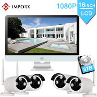 IMPORX 4CH 1080P Wireless NVR Kits 16LCD Display Outdoor Security 2MP IP Camera Video Surveillance Wifi CCTV Camera System