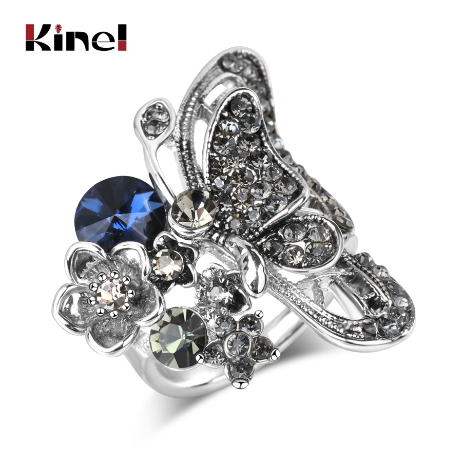 Kinel Punk Charm Big Butterfly Ring Antique Silver Mosaic Blue Crystal Rings For Women Luxury Party Gifts Vintage Animal Jewelry