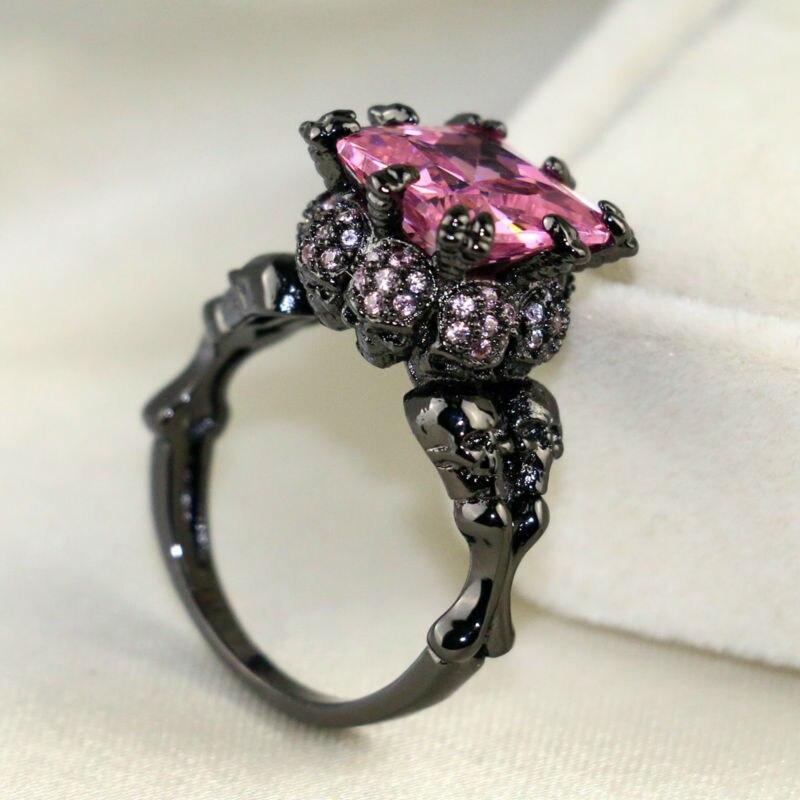 Pink Black Skull Rings: Punk Jewelry Black Ring Women's Skull Ring Rhodium Plated
