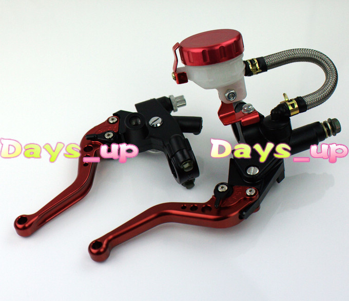 "Universal 7/8 inch"" 22mm Front Master Cylinder Brake Clutch Levers for Sport Street Bike ,All red Motorcycle Levers"""