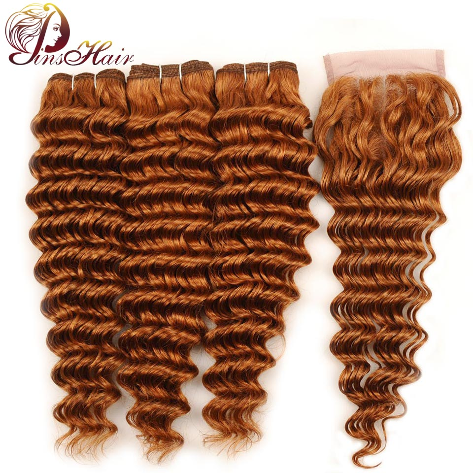 Pinshair Honey Blonde Brazilian Deep Wave 3 Bundles With Closure 30 Human Hair Lace Closure And Bundles Non Remy Hair Extension