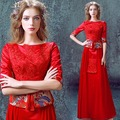 satin brocade half sleeve bridal red cheongsam wedding dresses elegant lace cheongsam wedding dress xxxl long chinese dresses