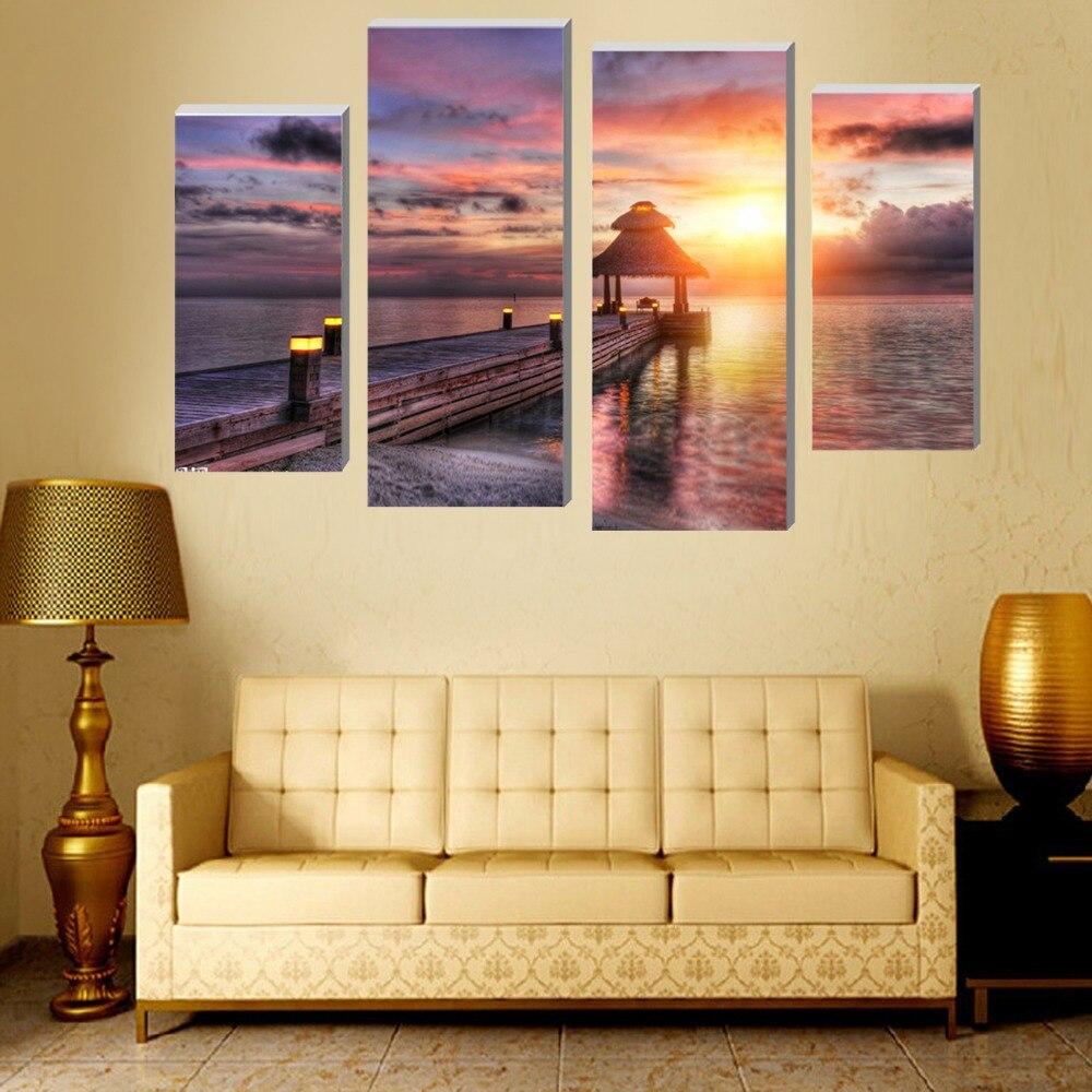 ᗐ4 unids hermosa playa al atardecer pared arte cuadro moderno ...