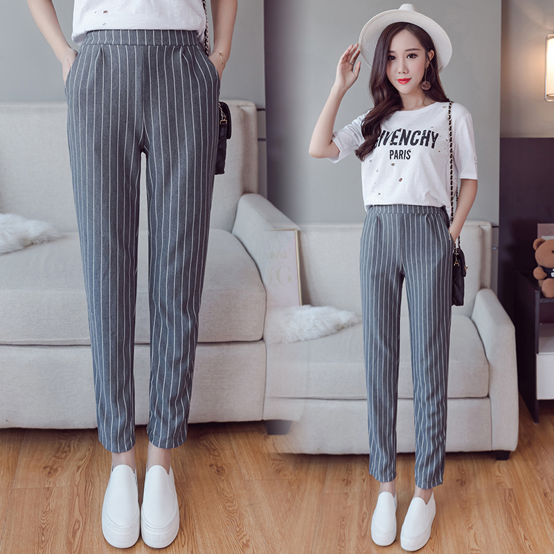 Summer Autumn Female Fashion Elastic Waist Casual Stripes Peneil Pants Women Pants Work Wear Trousers Harem Pants Drop Shipping