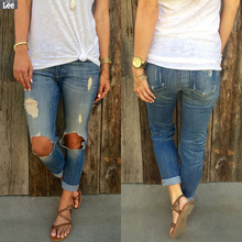 Jeans Woman Real Cotton Light Zipper Fly Low Hole Button 2016 New Women Pencil Pants Stretch