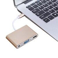 NOVO Plug and Play USB 3.1 Tipo C para HDMI VGA 3.5mm Adaptador de Áudio Suporte 1080 P Vídeo Para Macbook para TV/Monitor/Projetor