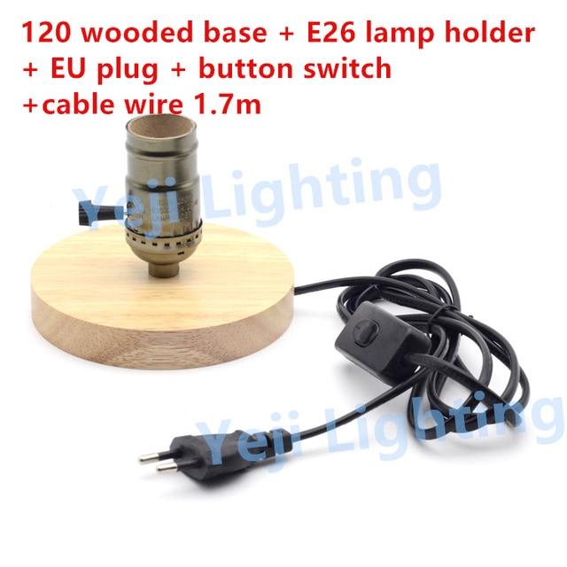 Ul edison vintage lamp holder wooden base e26 e27 socket lamp ul edison vintage lamp holder wooden base e26 e27 socket lamp holder with eu 2 keyboard keysfo Images