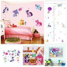 Cute Pony anime wall decals My Little Horse 3d vinyl stickers kids bedroom girls room decoration marvel poster cartoon wallpaper(China)