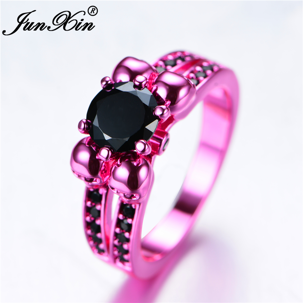 JUNXIN Retro Male Female Black Skull Ring Fashion Pink Gold Filled ...