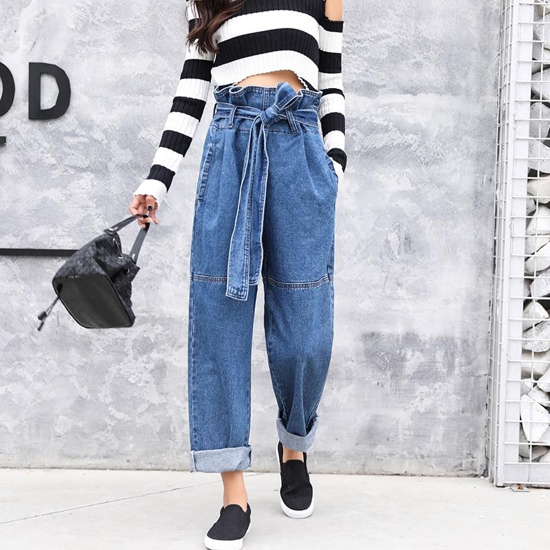 Women paper bag waist trousers 2018 Casual denim wide leg pants Blue jeans loose Bottom High quality high waisted long pants