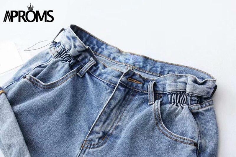 Aproms Casual Blue Denim Shorts Women Sexy High Waist Buttons Pockets Slim Fit Shorts 2019 Summer Beach Streetwear Jeans Shorts 47