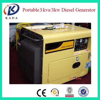 3KVA Air Cooled Diesel Generator Home Use Single Phase Silent Type Diesel Generator 3KW 50HZ 220V 1500RPM