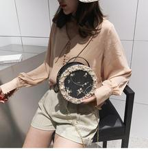 2019 Fashion Round Lace Women Summer Bag Pu Leather Circular Pink Flower Shoulder Bags Pearl Handbags Crossbody Bags for Women 2018 new arrival round circular acrylic women shoulder evening bag ball shape solid fashion brand new design handbags pearl bags
