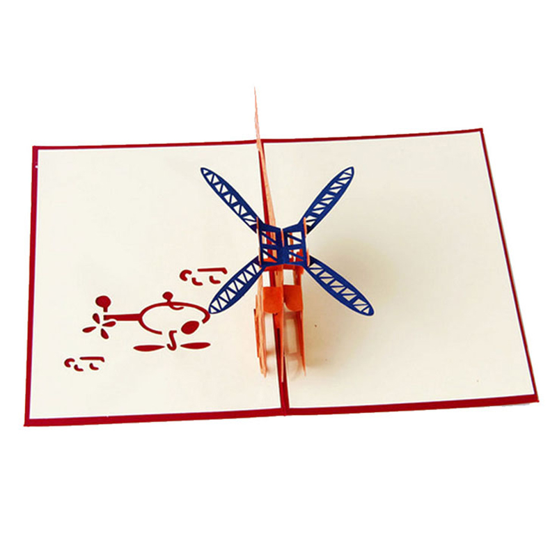 Perfect-3D Greeting Card Helicopter Anniversary Happy Birthday Christmas Easter Greeting Card
