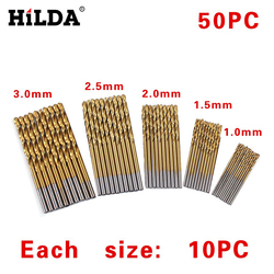 HILDA 50 pçs/set Torção Conjunto Broca Saw Set HSS Aço de Alta Broca Carpintaria Ferramenta De Madeira 1/1. 5/2/2.5/3mm Para O Metal