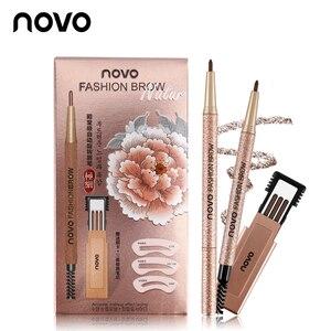 1 Set=3pcs NOVO 4 Colors New Eyebrow Pencil Makeup Set With 3pcs pencil+3pcs Eye Brows Template Waterproof Long Lasting Make Up