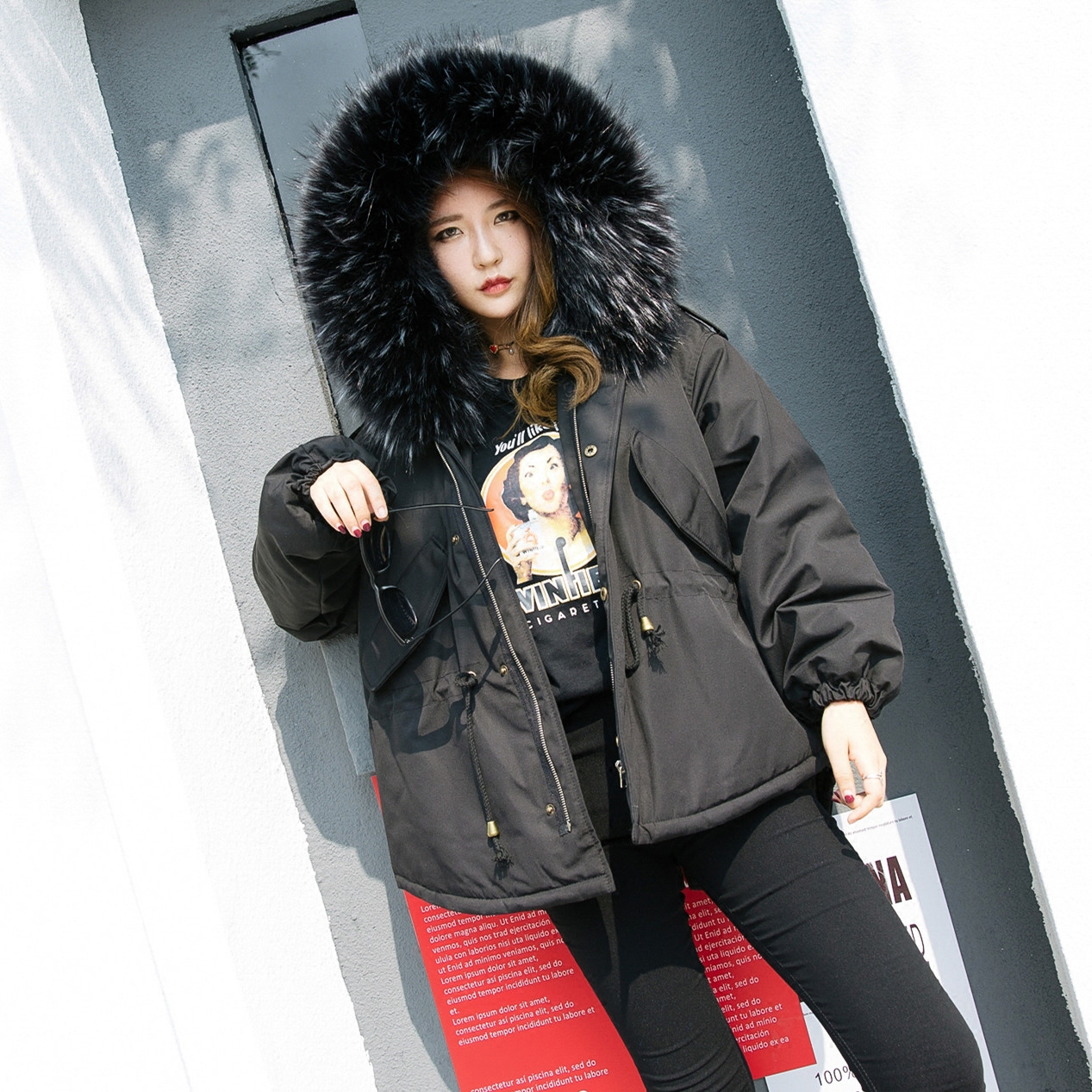 2017 Winter Fur Hooded Coat Women Loose Pure Korean Large Size Swallowtail Fashion Parkas Female Students Warm Overcoat Dophee