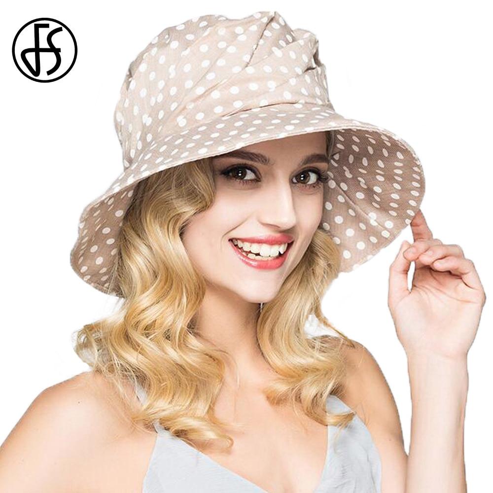 FS Fashion Summer Wide Brim Cotton Bucket Hat For Women Polka Dot Foldable Sun Hats Casual Lady  Floppy UV Beach Visors Cap