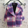 PRUPLE elegant plaid 2016 thick winter girls woolen coats overcoat fashion European style warm jacket
