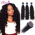 Peruvian Virgin Hair with Closure Peruvian Deep Wave 3 Bundles with Closure Peruvian Deep Curly Virgin Hair with Closure