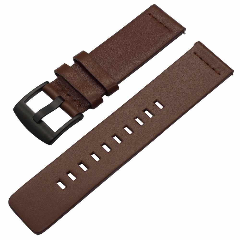 Italian Oily Leather Watchband for Huawei Watch GT Quick Release Band Sports Strap Replacement Bracelet Wristband Black Brown