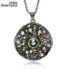 DreamCarnival 1989 Hot Gothic Jewelry Black Gold Color Pendant Chain Necklace Women Mixed Cubic Zircon Synthetic Pearl WP6532