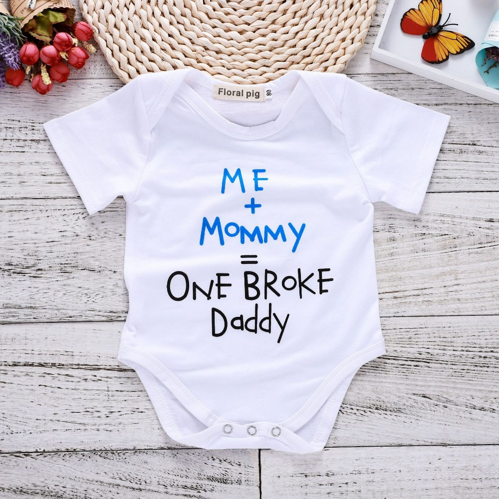 15a7bf57ed4a2 US $2.99 40% OFF|Newborn Onesie Short Sleeves Tiny Cottons Baby Bodysuits  Me+Mommy=One Broke Daddy Letter Print White Onesie Funny Baby Clothes-in ...