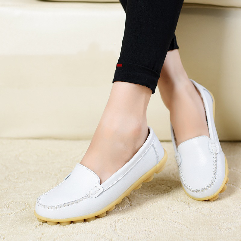 Women flats Genuine Leather Oxfords Round Toe Women Flat Shoes Colors slip on Casual Shoes Hollow Womens Loafers Driving Shoes fido