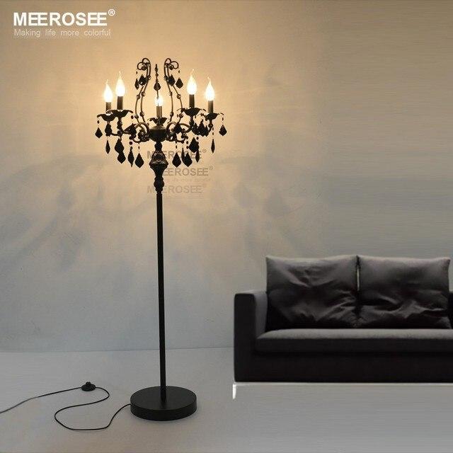 Vintage 5 Lights Crystal Floor Lamp, Floor Stand Light Fixture ...