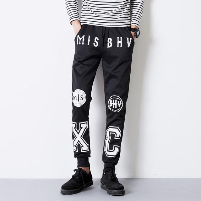 Calças Harém dos homens de Moda de Nova Letra Impressa Roupas Atleta Algodão Causal Calças Skates Hip Hop Sportswear Calças